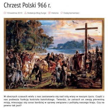 """ARTYKUŁ: Blog Surge Polonia """"Chrzest Polski 966 r."""""""