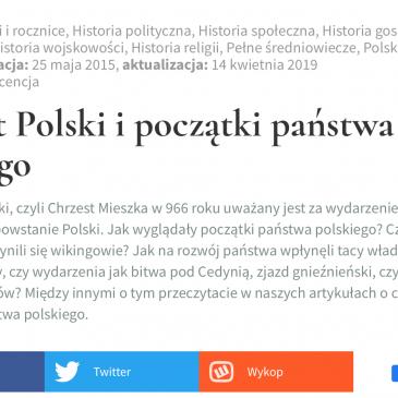 """ARTYKUŁ: Histmag.org """"Chrzest Polski i początki Państwa Polskiego"""""""