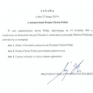 Tekst ustawy z 22 lutego 2019 r. o ustanowieniu Święta Chrztu Polski